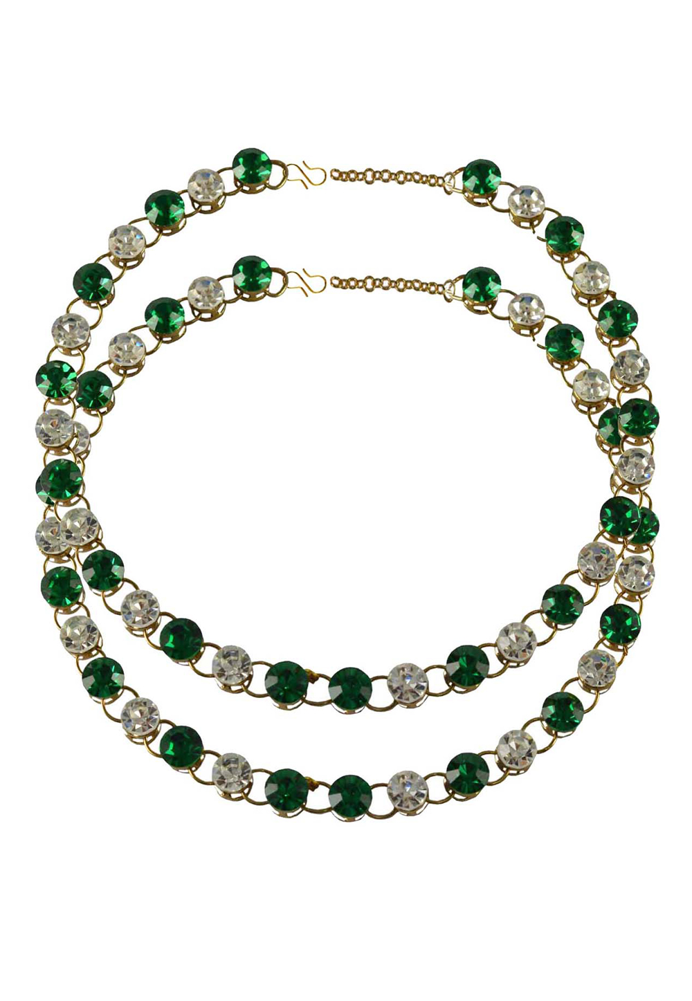Green Brass Gold Plated Anklets 171269