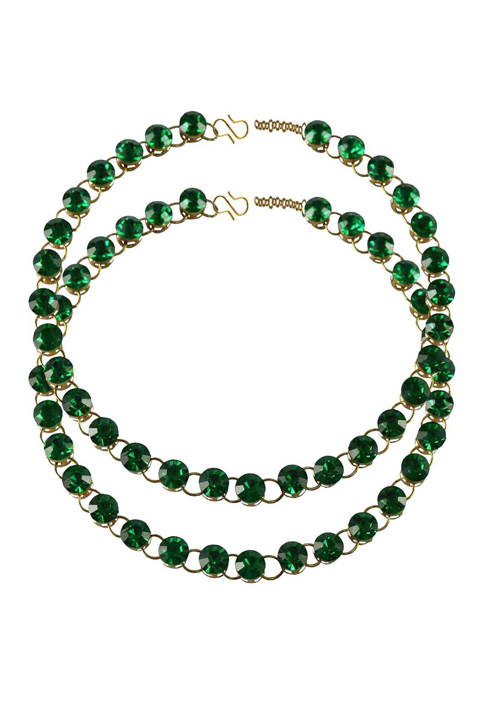 Green Brass Gold Plated Anklets 171270