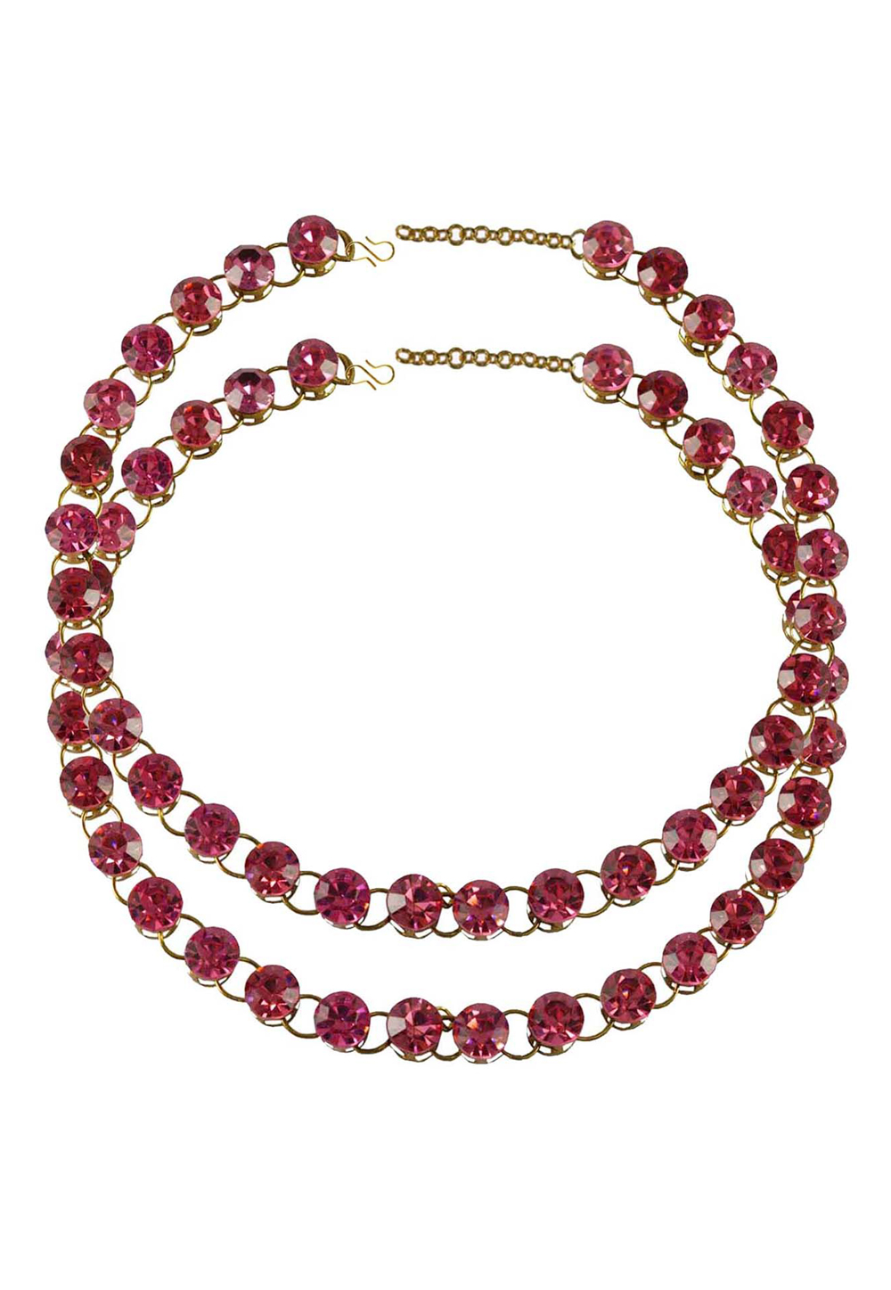Pink Brass Gold Plated Anklets 171271