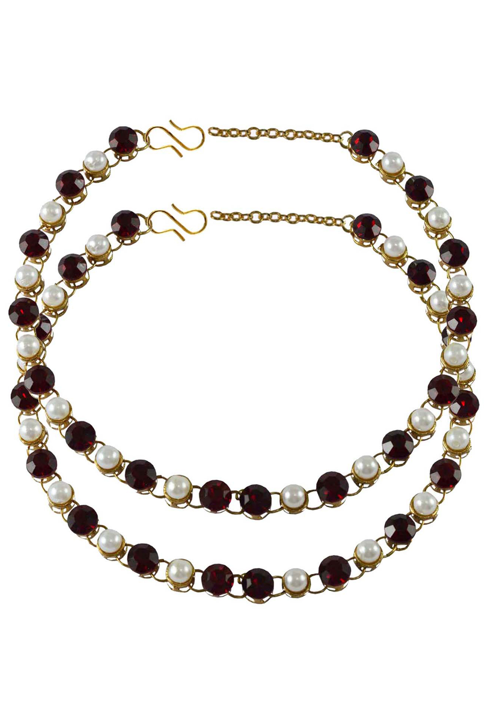 Maroon Brass Gold Plated Anklets 171274