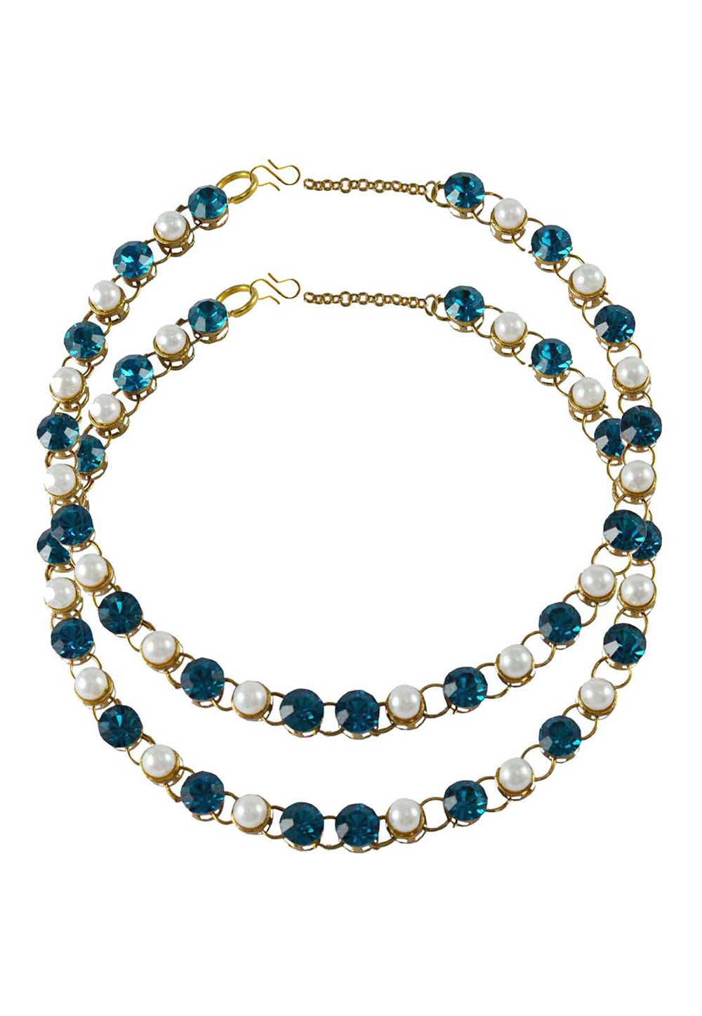 Blue Brass Gold Plated Anklets 171275