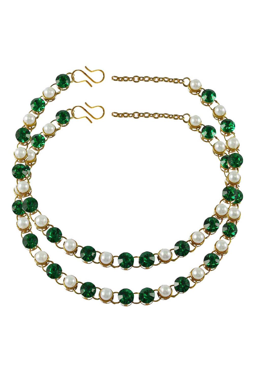 Green Brass Gold Plated Anklets 171276