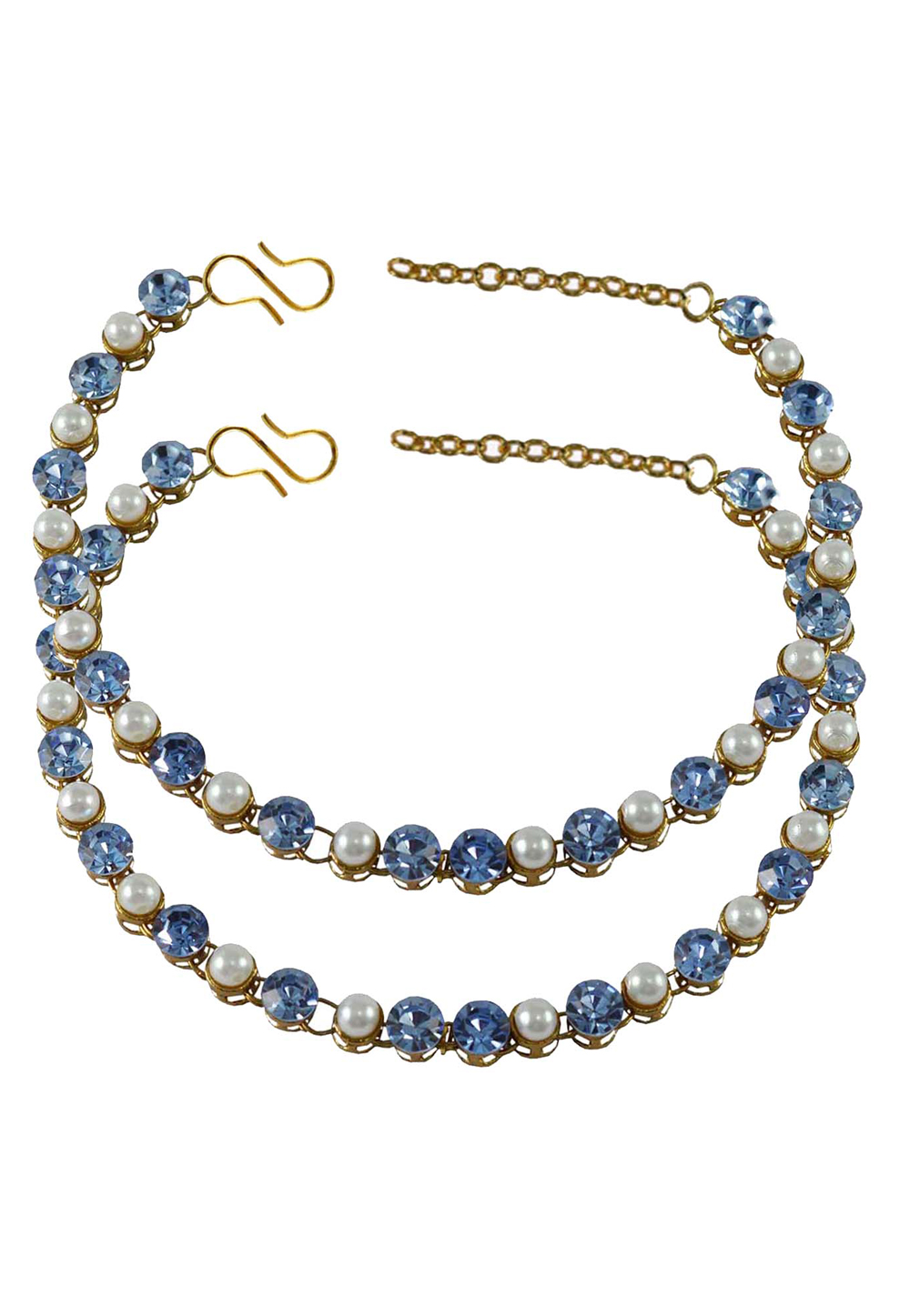 Light Blue Brass Gold Plated Anklets 171277