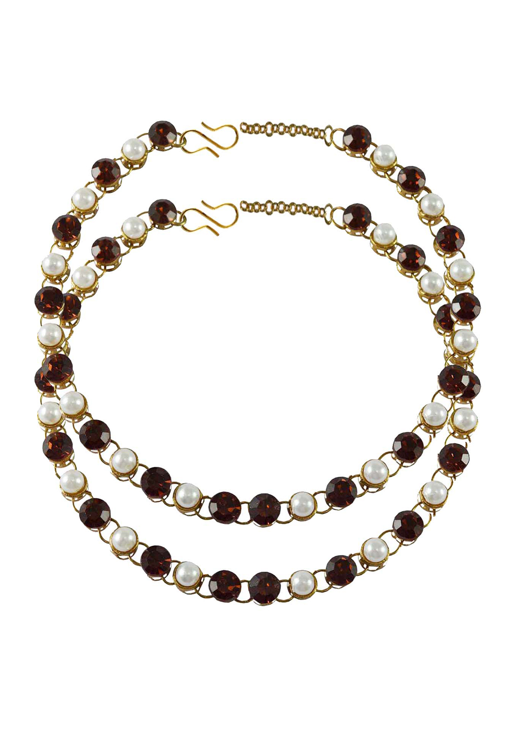 Maroon Brass Gold Plated Anklets 171278