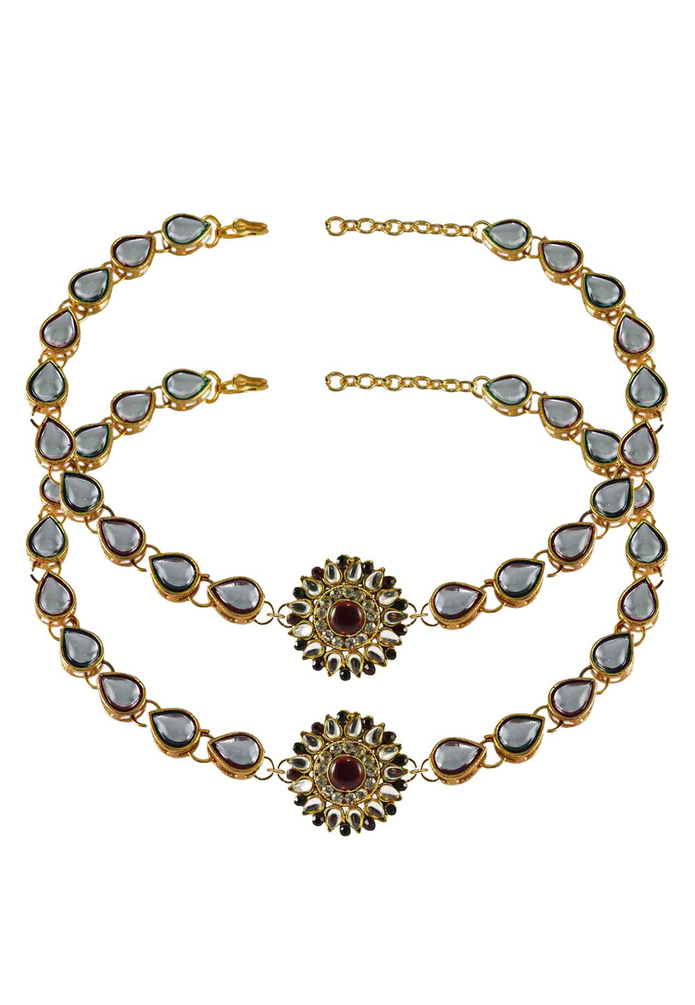 Grey Brass Gold Plated Anklets 171279