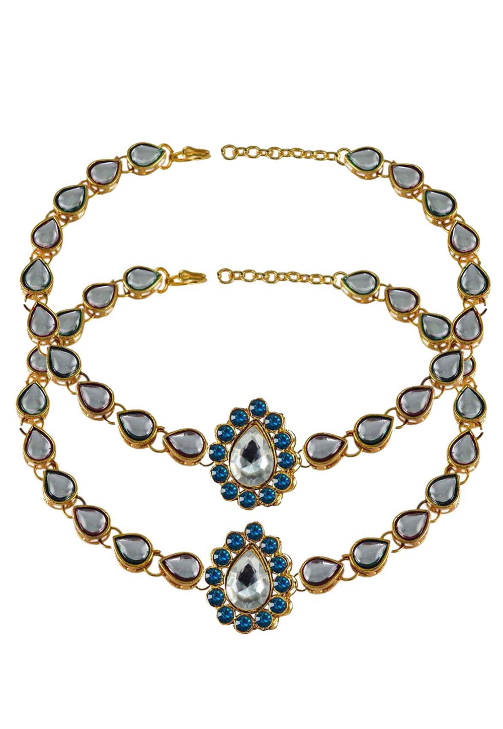 Blue Brass Gold Plated Anklets 171284