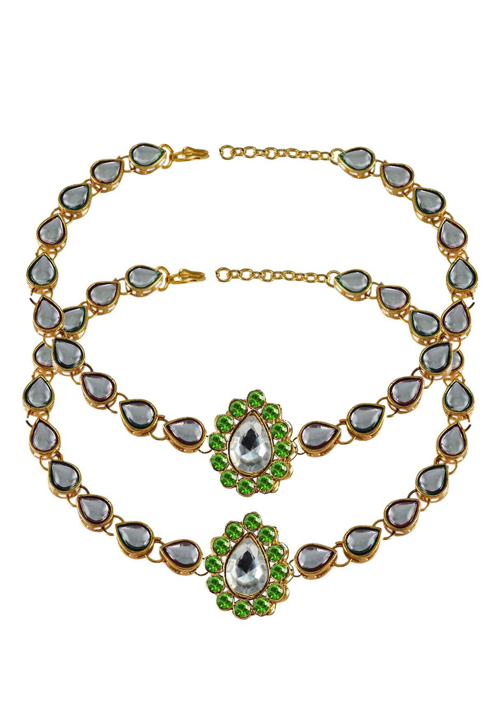 Green Brass Gold Plated Anklets 171300