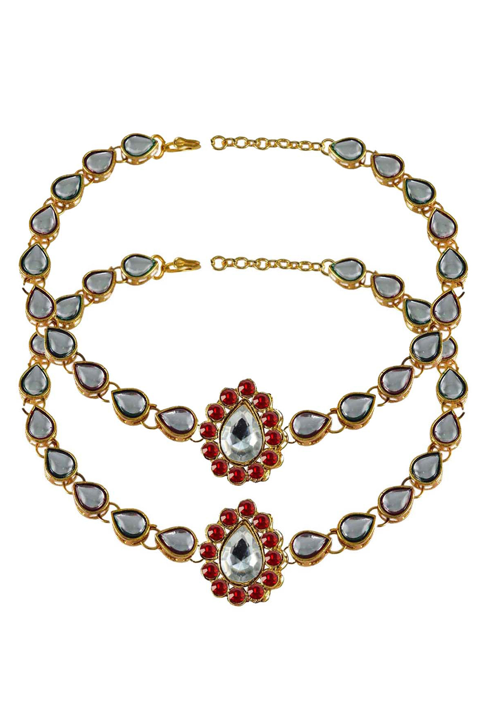 Red Brass Gold Plated Anklets 171301