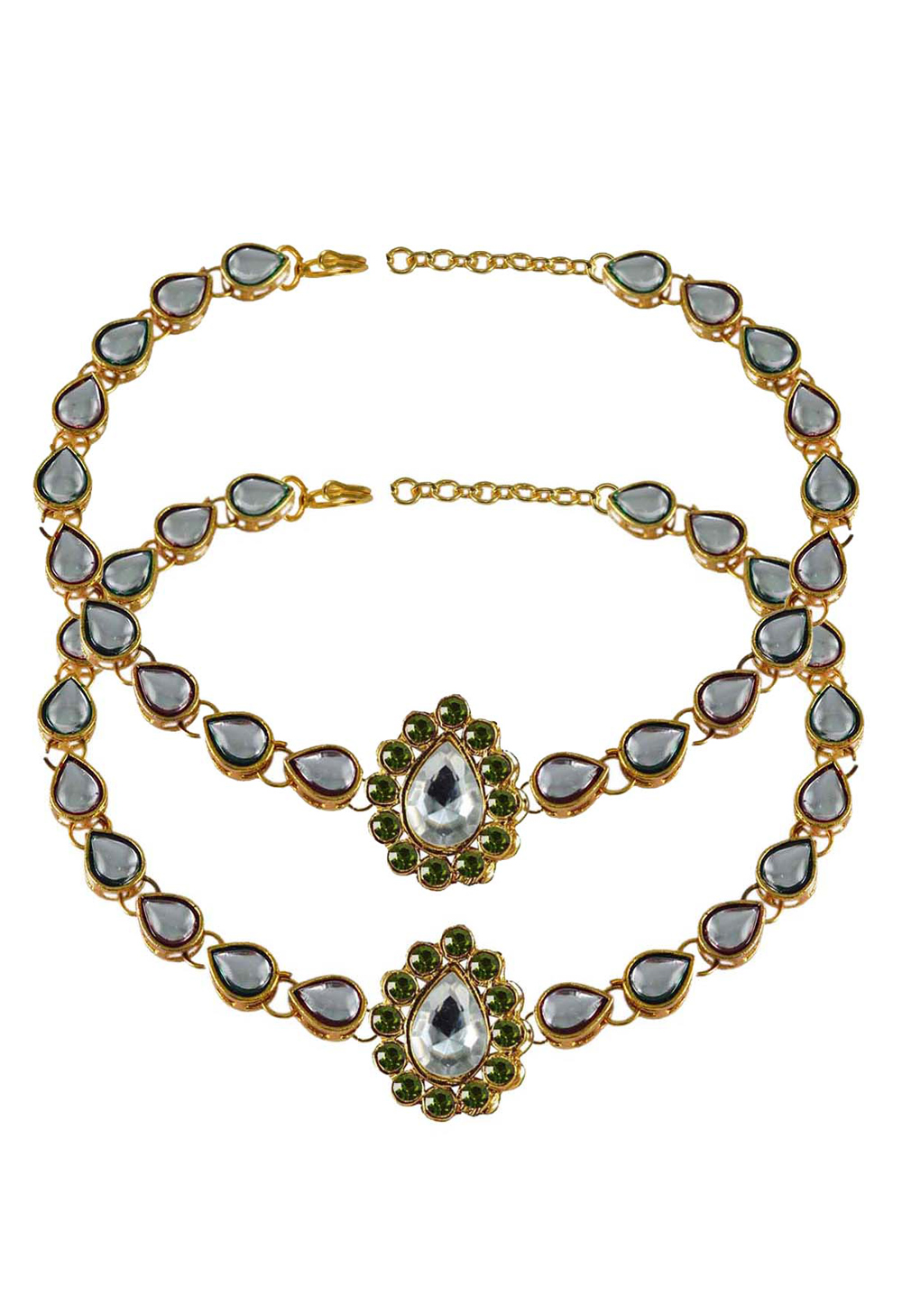 Green Brass Gold Plated Anklets 171302