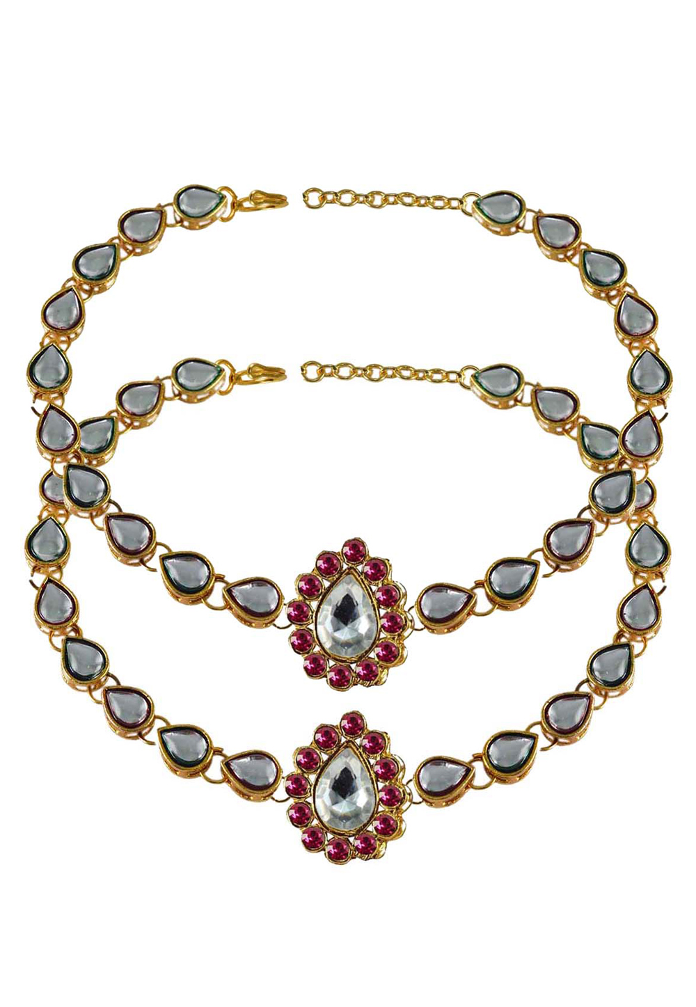 Pink Brass Gold Plated Anklets 171303