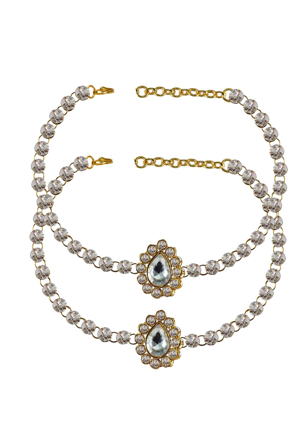 White Brass Gold Plated Anklets 171306