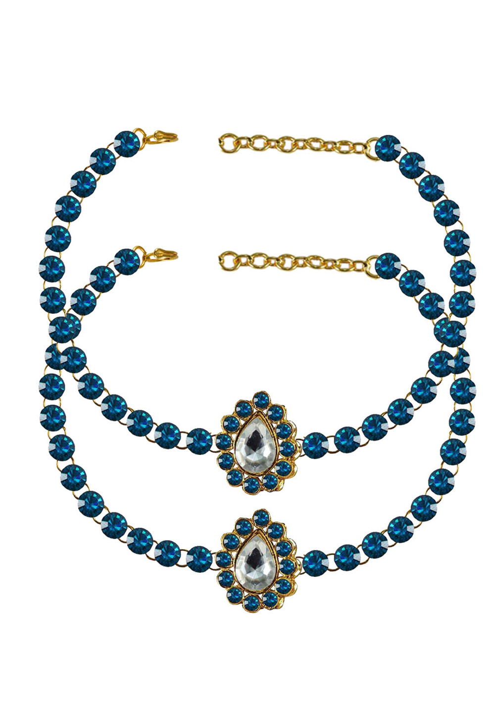 Blue Brass Gold Plated Anklets 171307