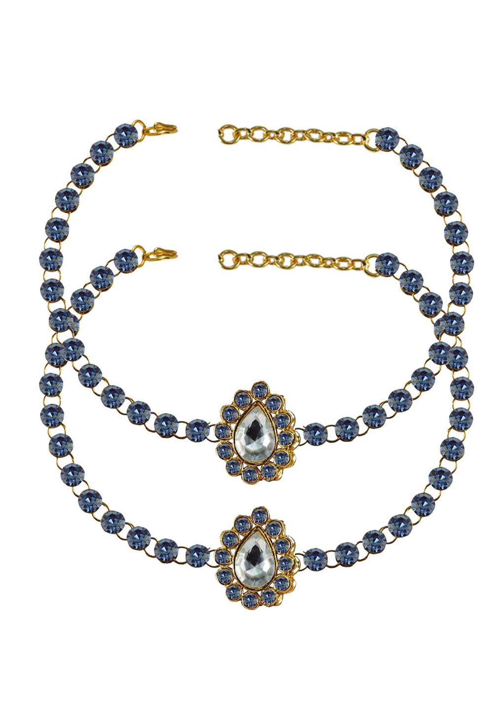 Blue Brass Gold Plated Anklets 171309
