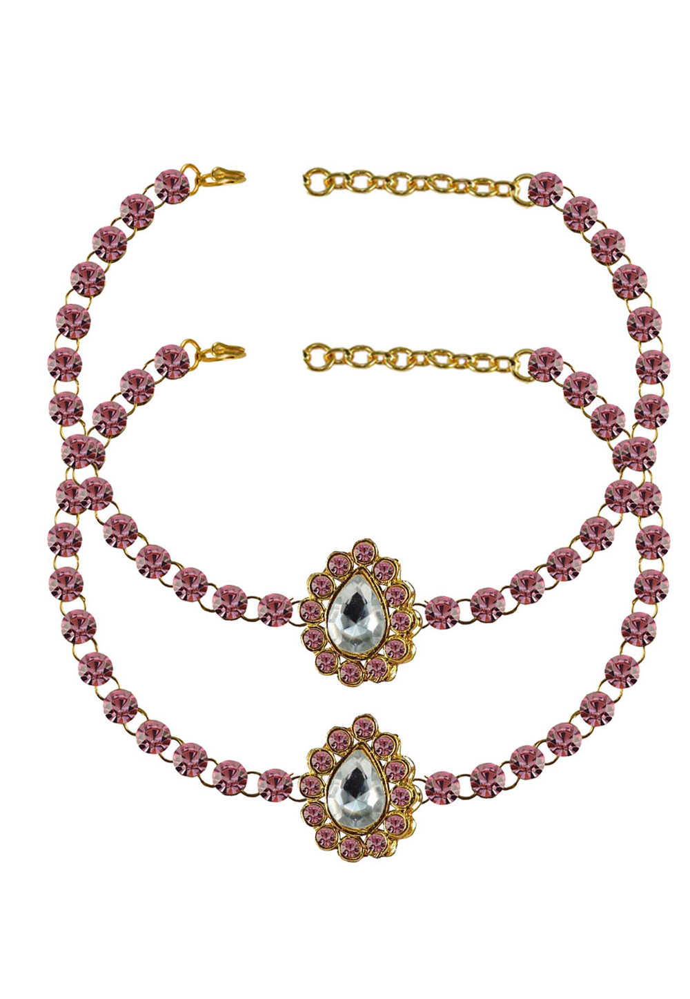 Pink Brass Gold Plated Anklets 171313