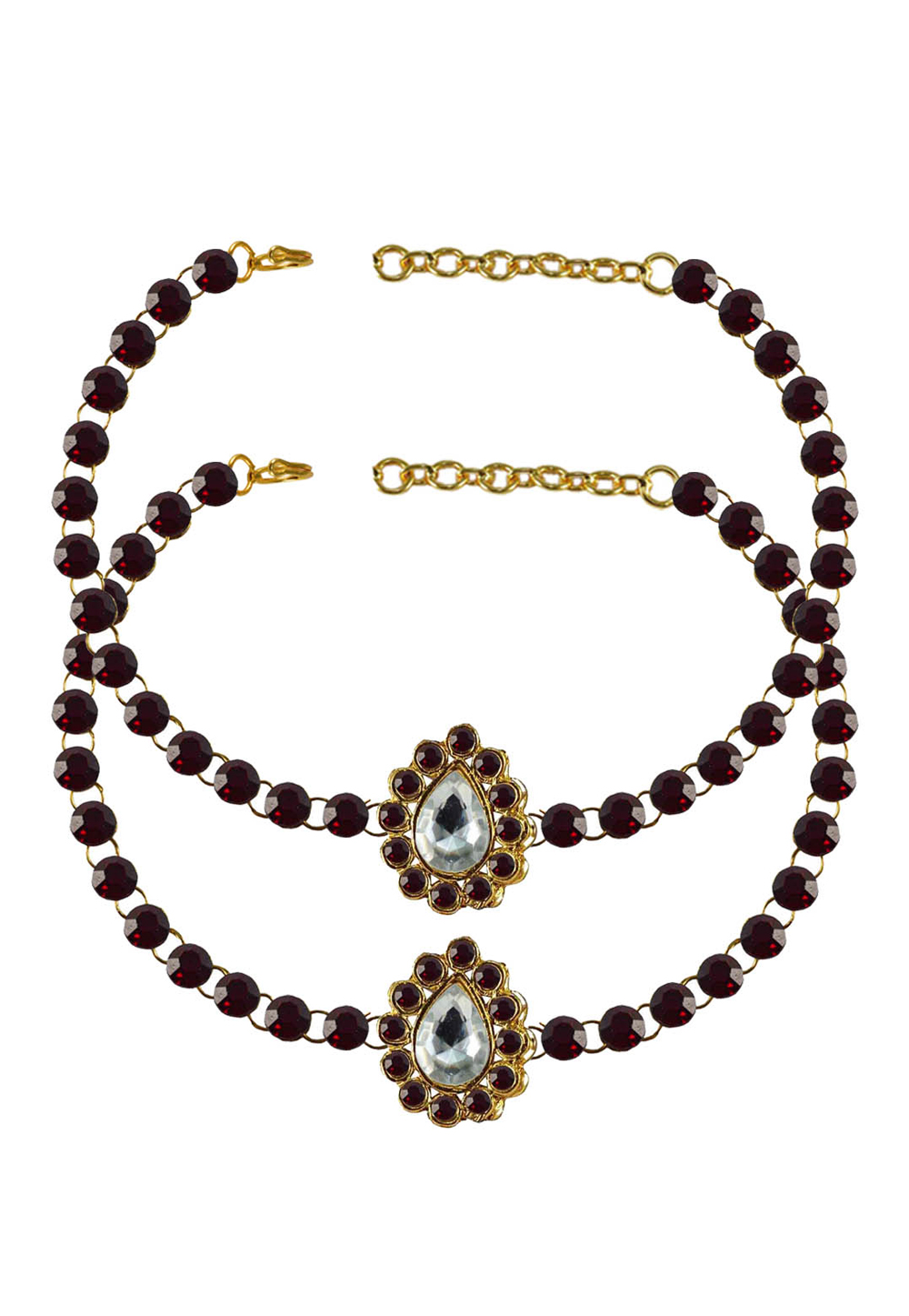 Maroon Brass Gold Plated Anklets 171315