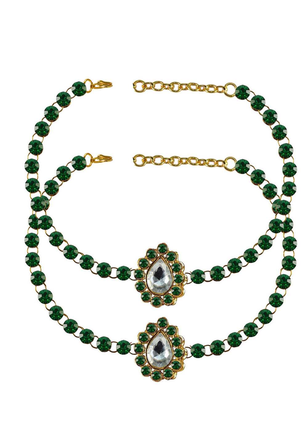 Green Brass Gold Plated Anklets 171316