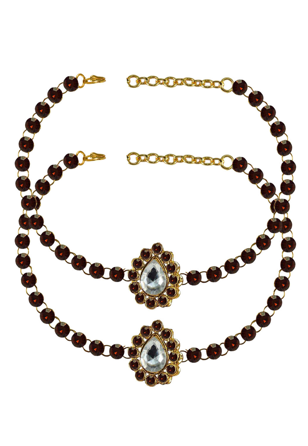 Maroon Brass Gold Plated Anklets 171317