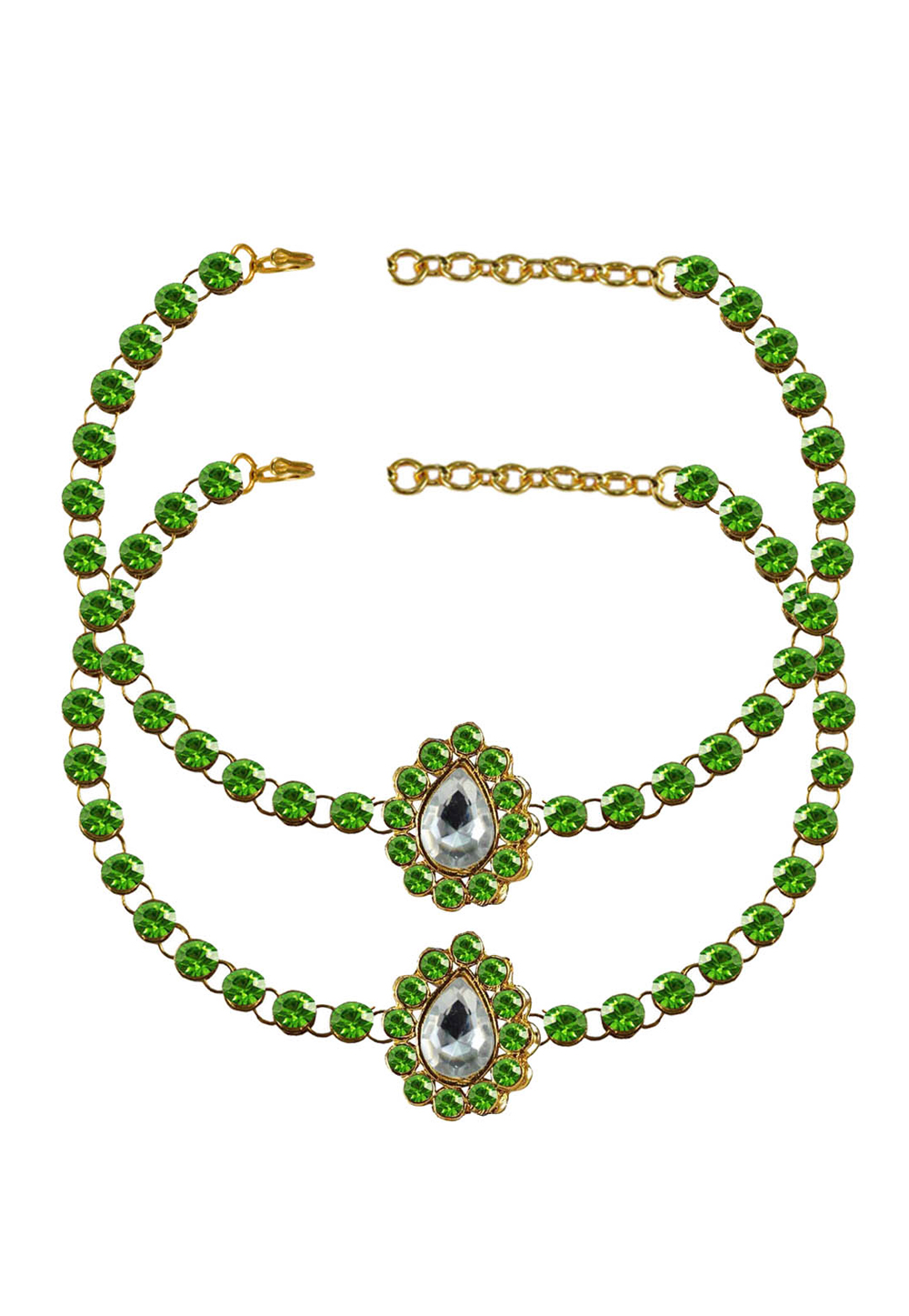 Green Brass Gold Plated Anklets 171323