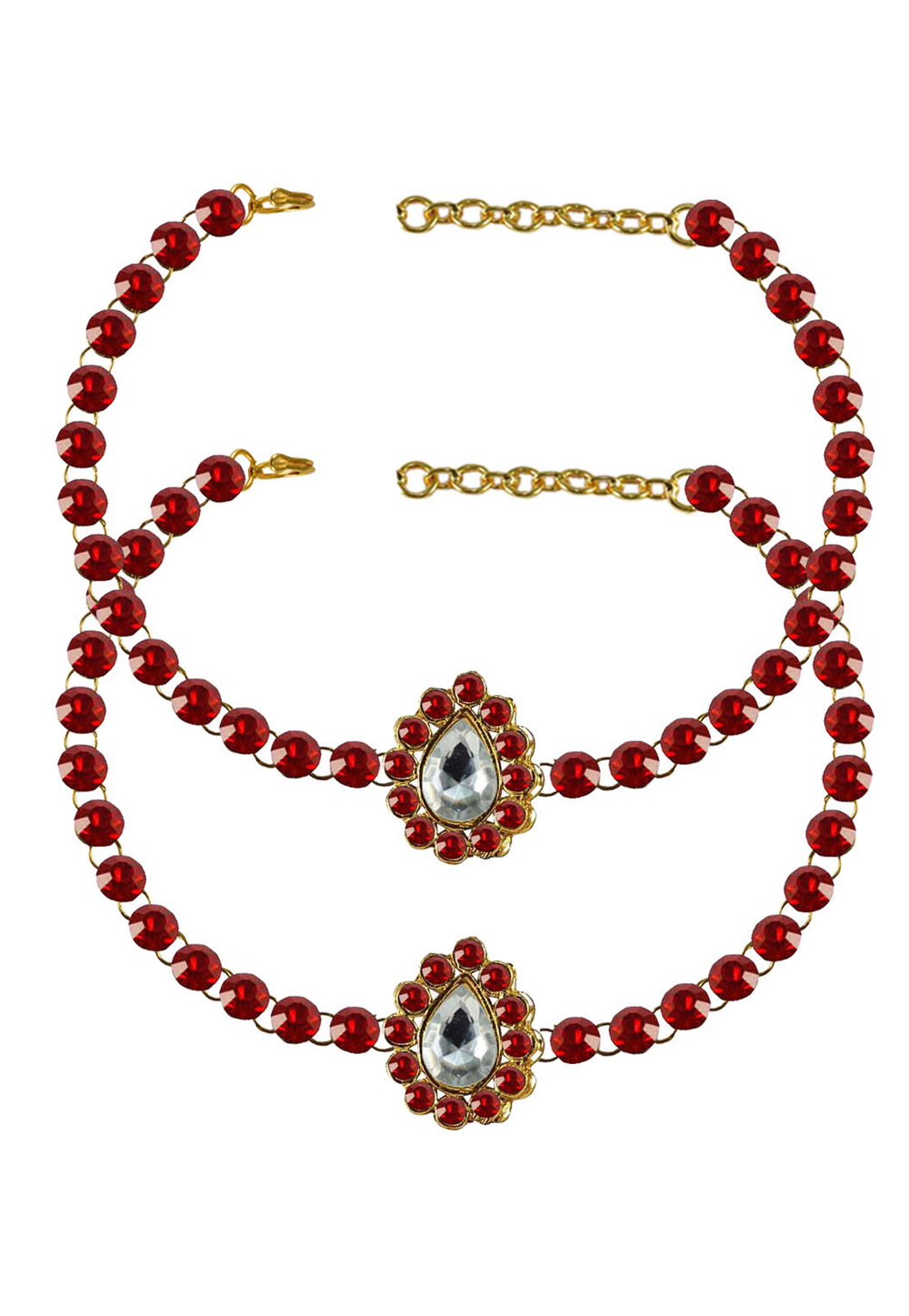 Red Brass Gold Plated Anklets 171324