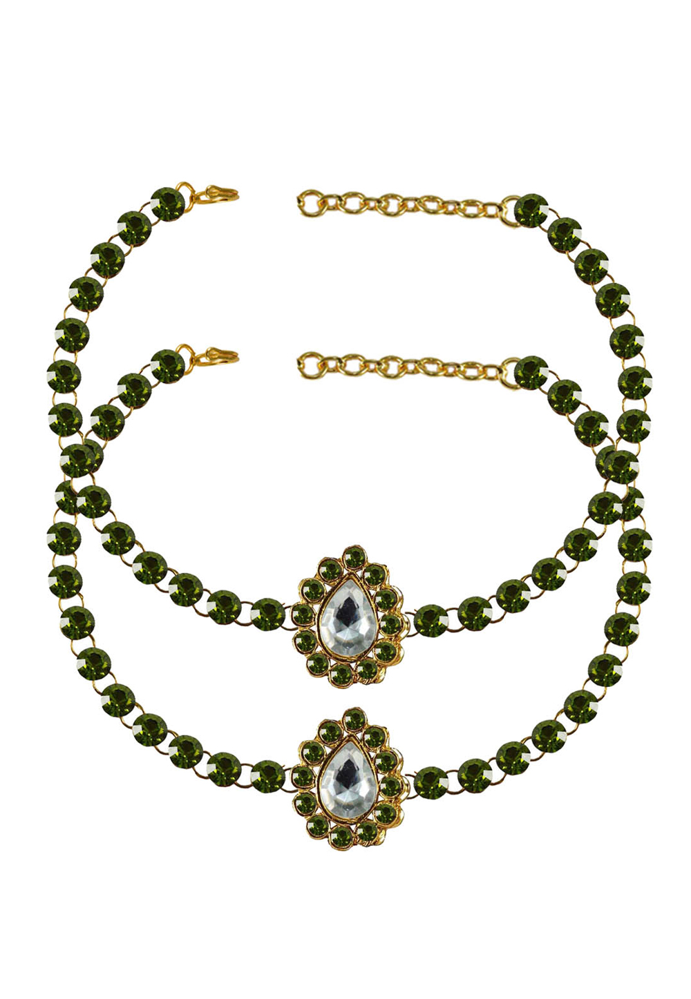Green Brass Gold Plated Anklets 171325