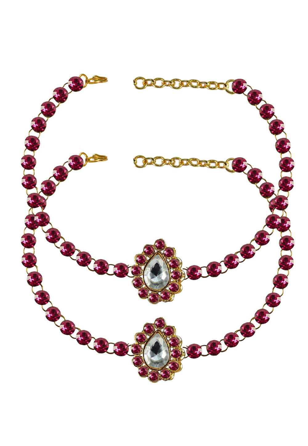 Pink Brass Gold Plated Anklets 171326