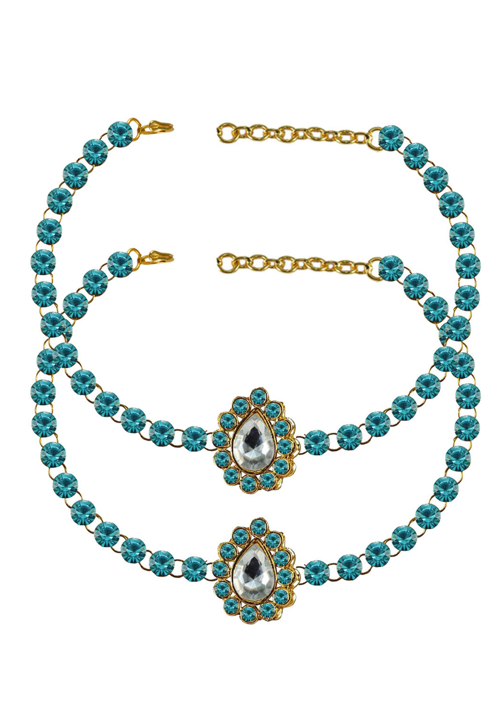 Blue Brass Gold Plated Anklets 171328