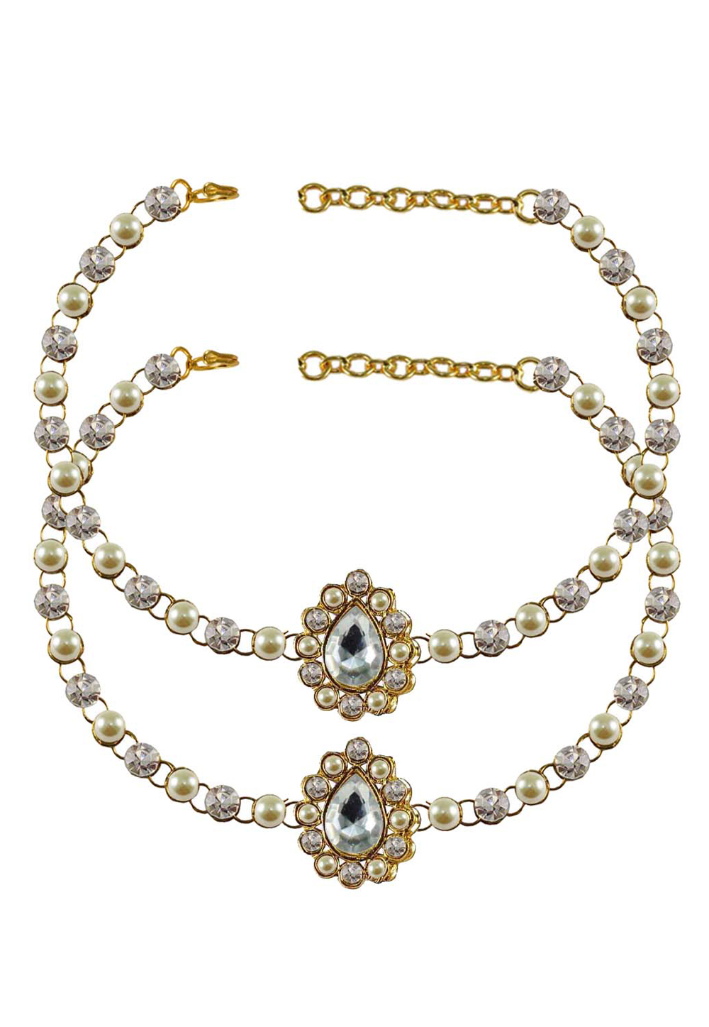 White Brass Gold Plated Anklets 171329