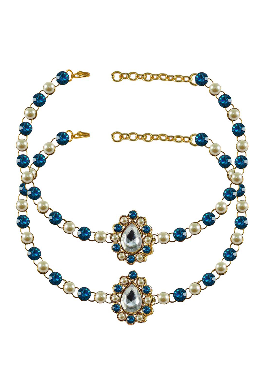 Blue Brass Gold Plated Anklets 171330