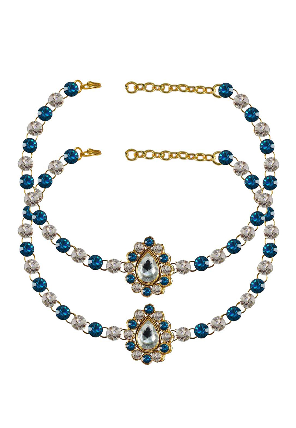 Blue Brass Gold Plated Anklets 171331