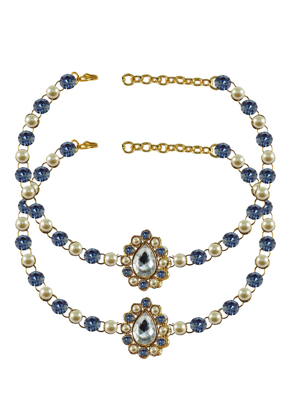 Blue Brass Gold Plated Anklets 171334