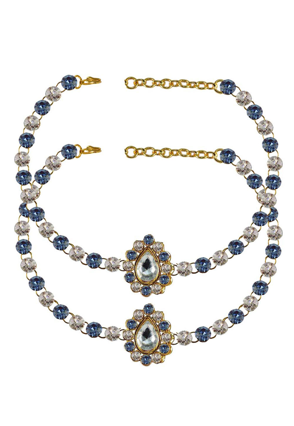 Blue Brass Gold Plated Anklets 171335