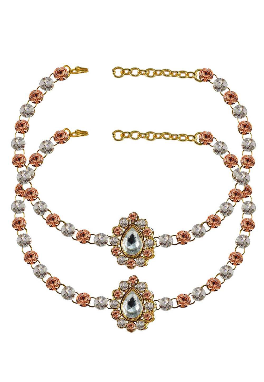Peach Brass Gold Plated Anklets 171337