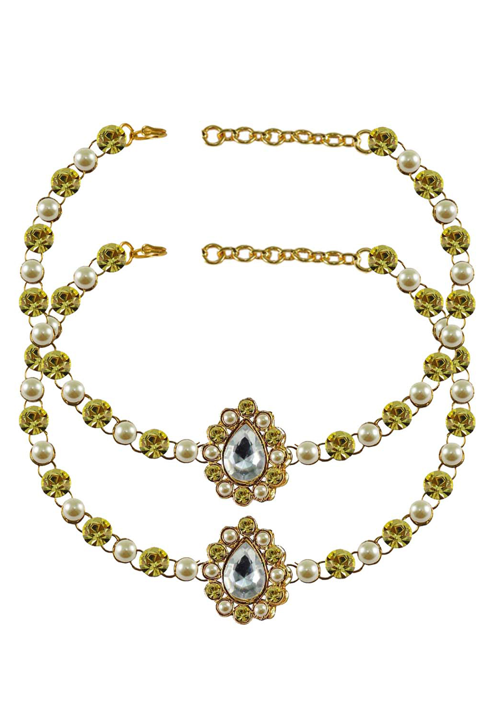 Shaded Green Brass Gold Plated Anklets 171338