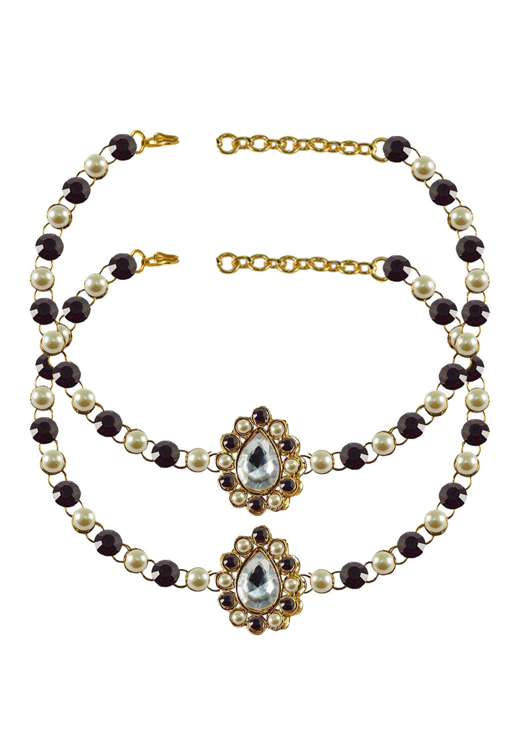 Maroon Brass Gold Plated Anklets 171340