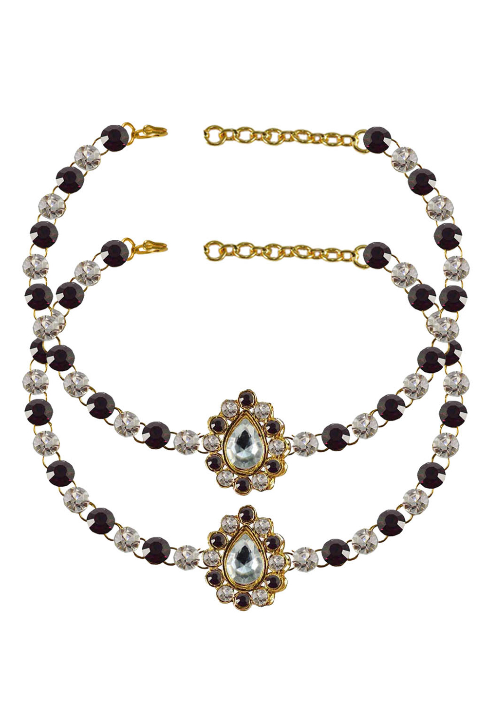 Maroon Brass Gold Plated Anklets 171341