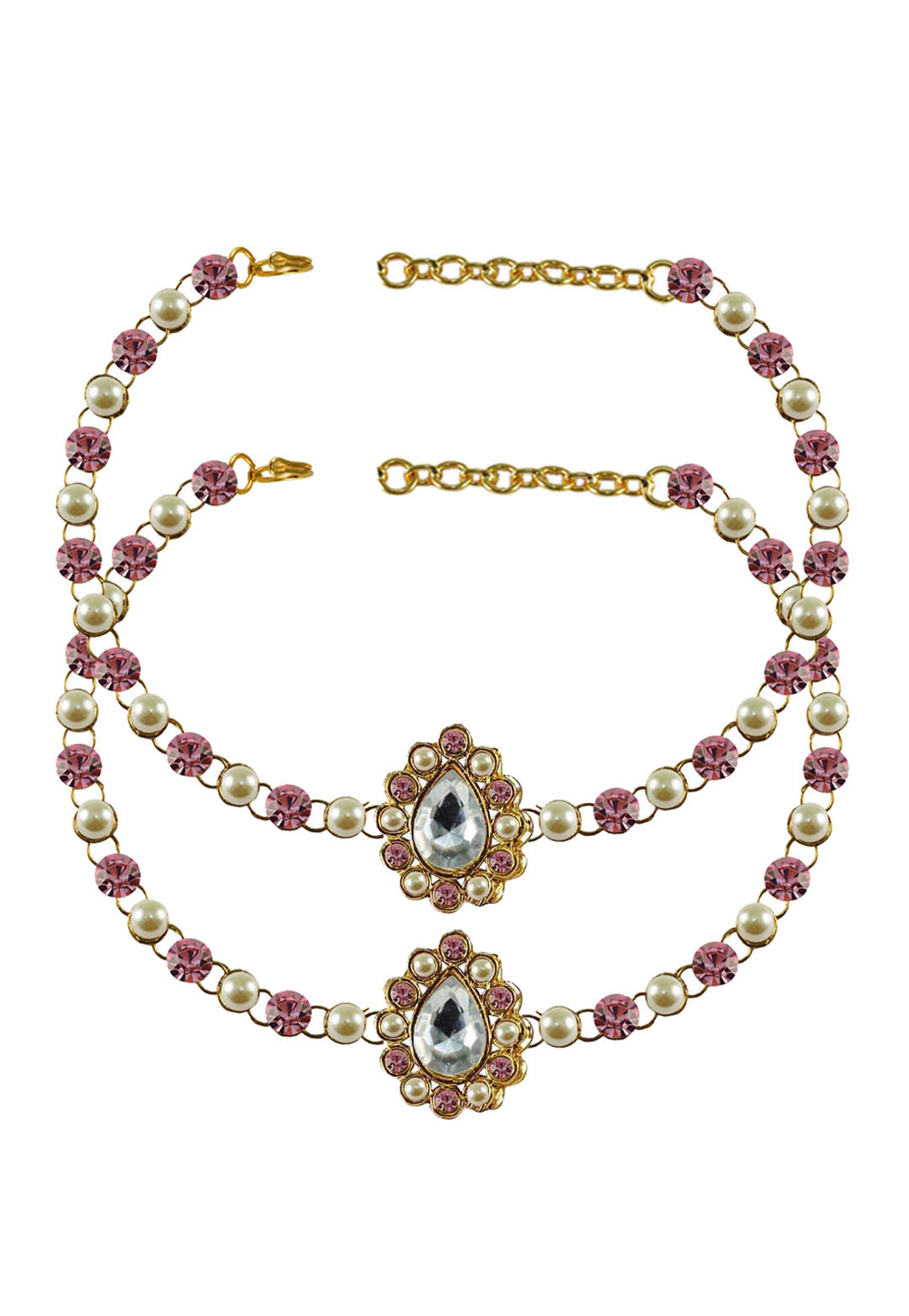 Pink Brass Gold Plated Anklets 171342