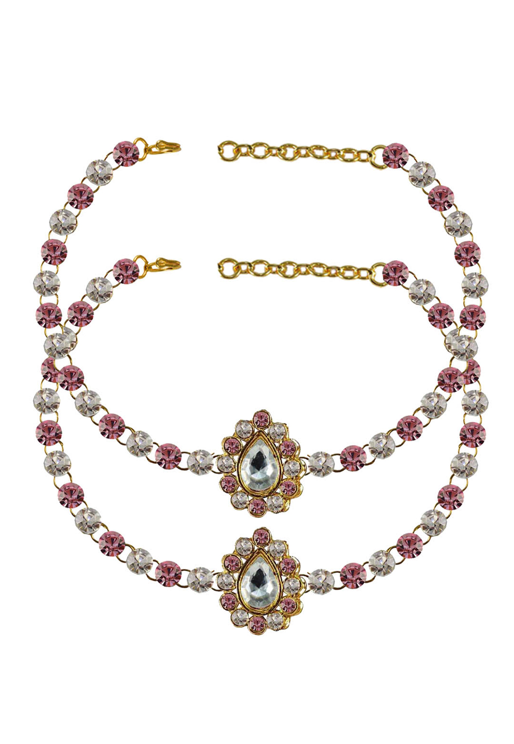 Pink Brass Gold Plated Anklets 171343
