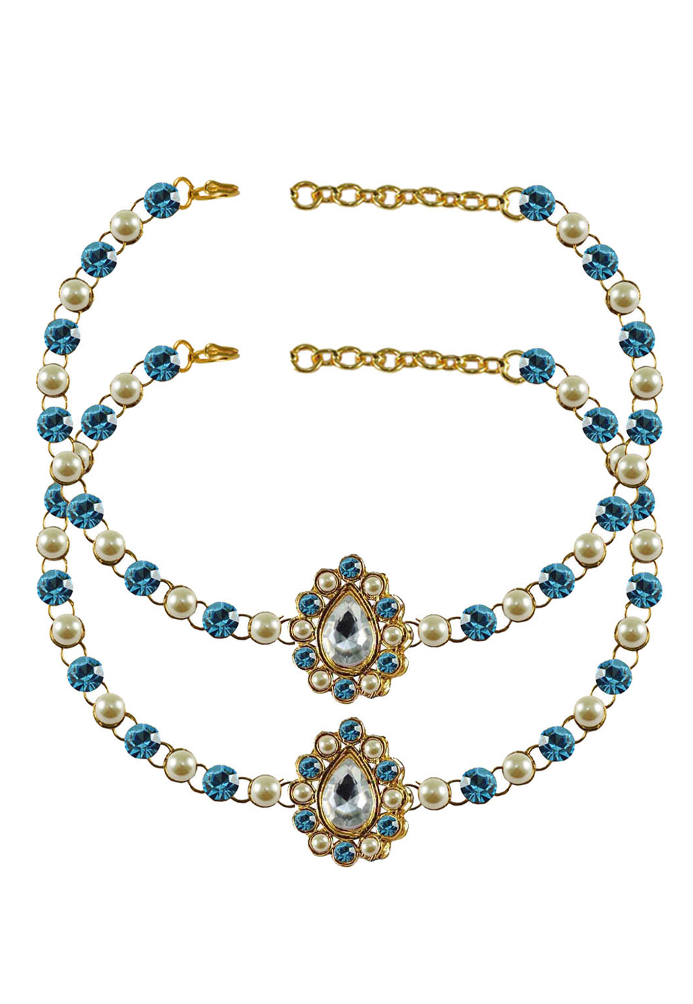 Blue Brass Gold Plated Anklets 171344