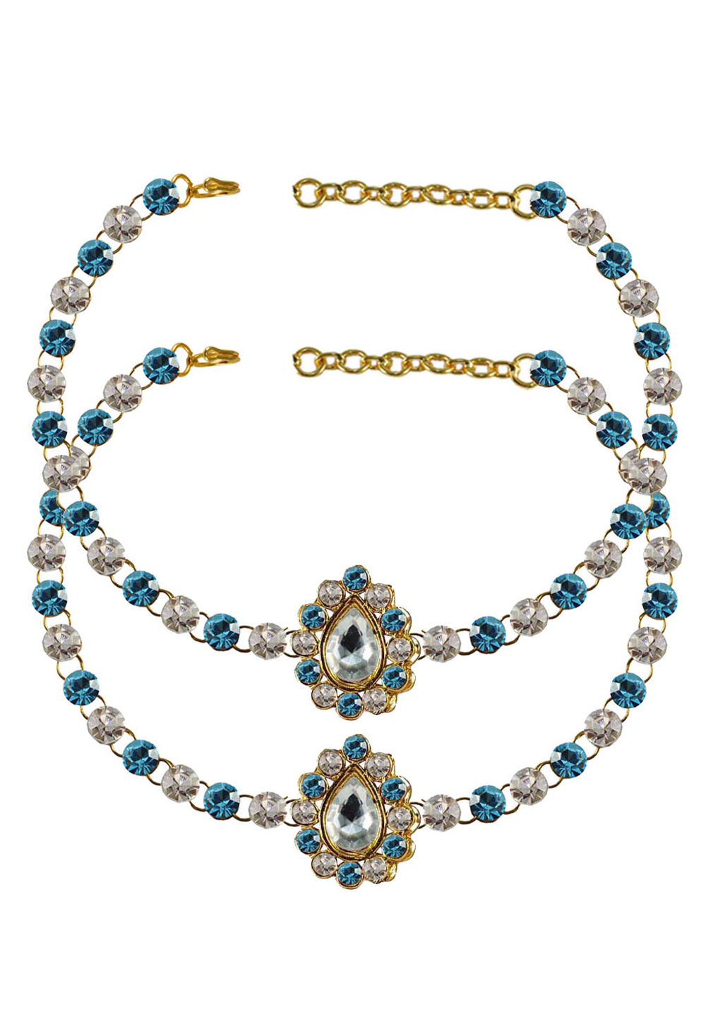 Blue Brass Gold Plated Anklets 171345