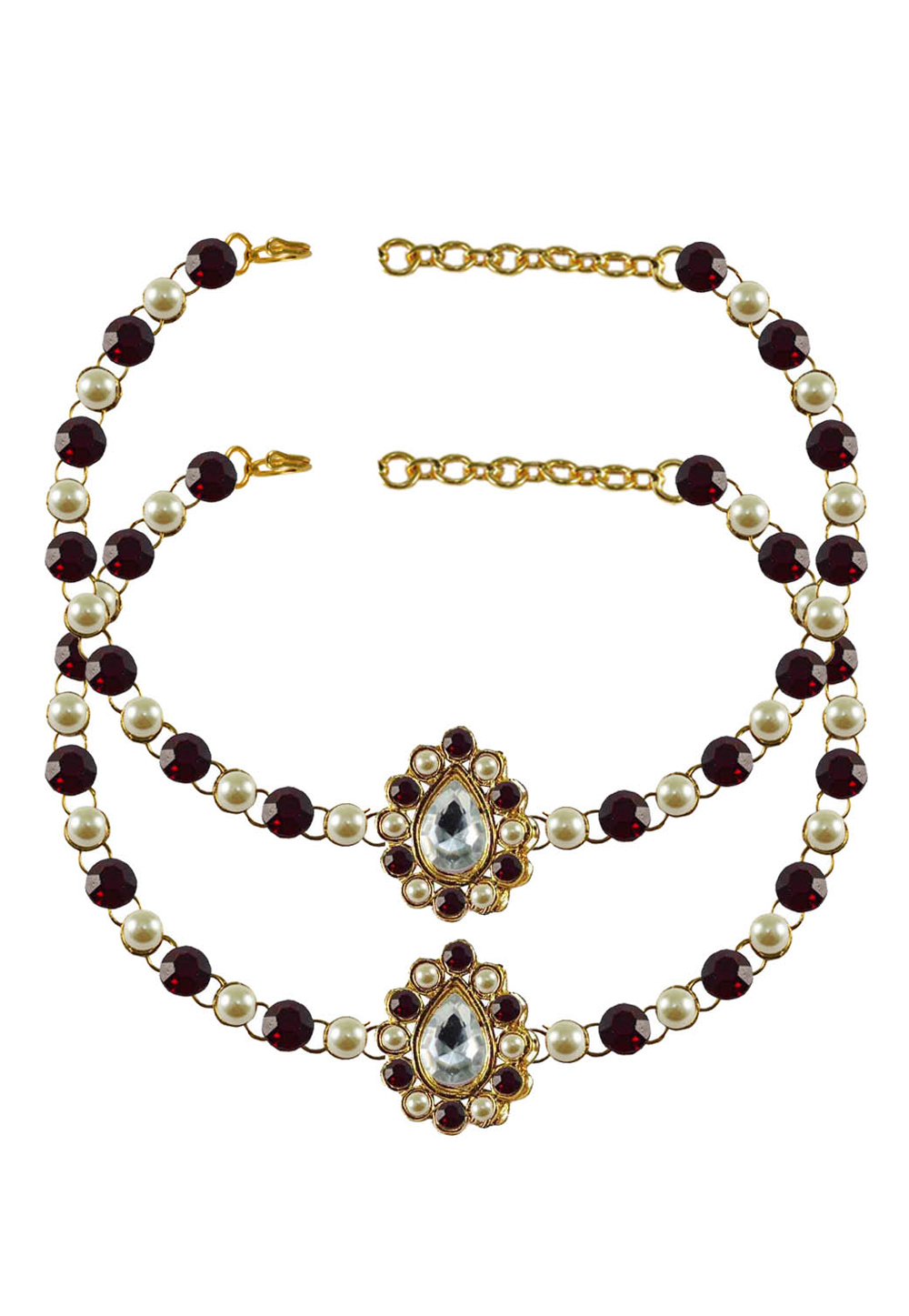 Maroon Brass Gold Plated Anklets 171346