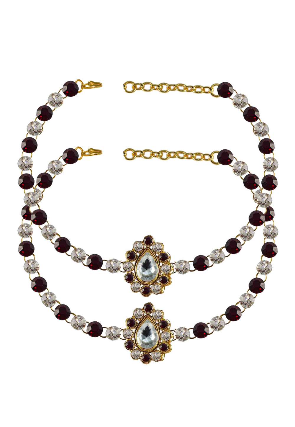 Maroon Brass Gold Plated Anklets 171347
