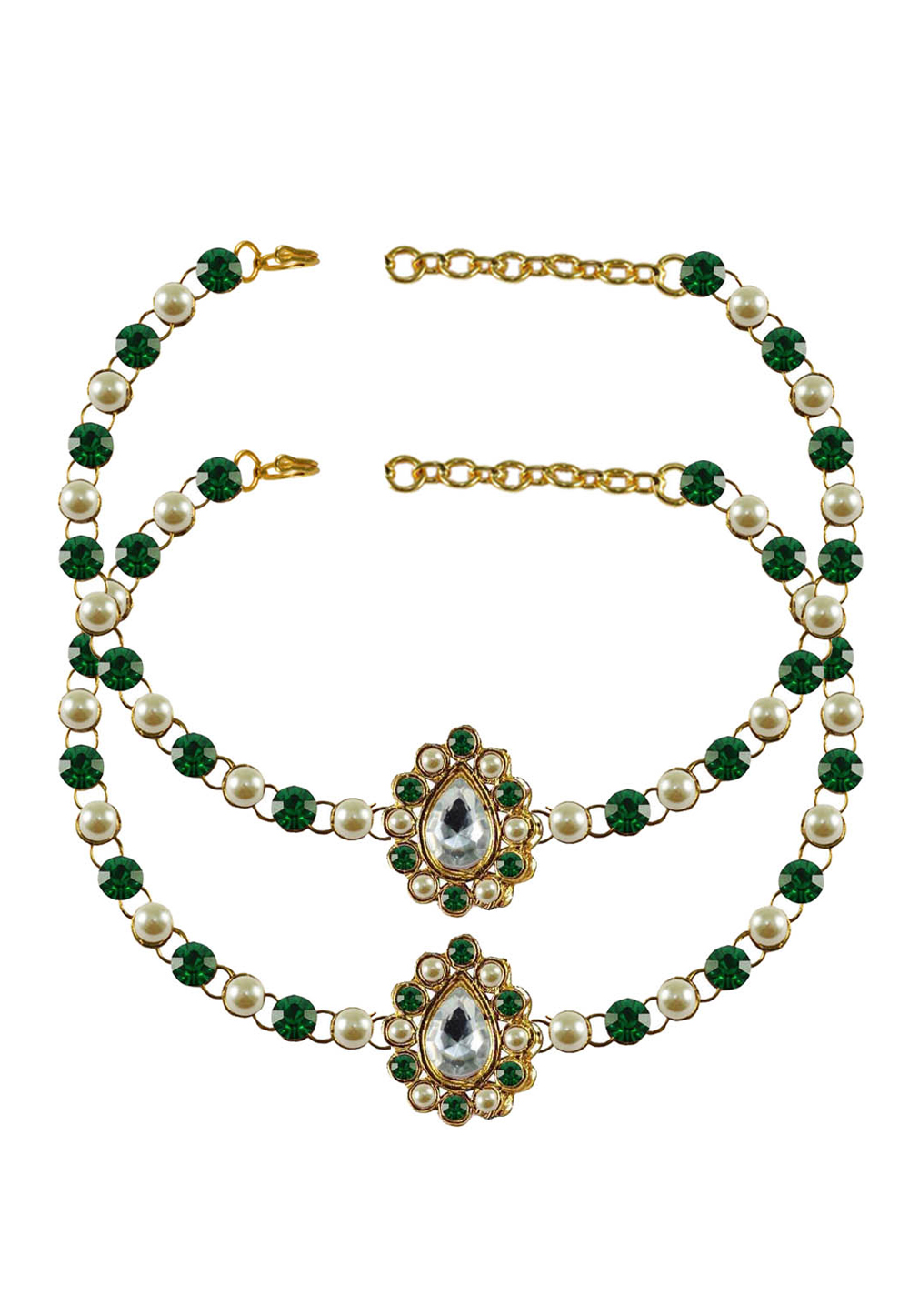 Green Brass Gold Plated Anklets 171348