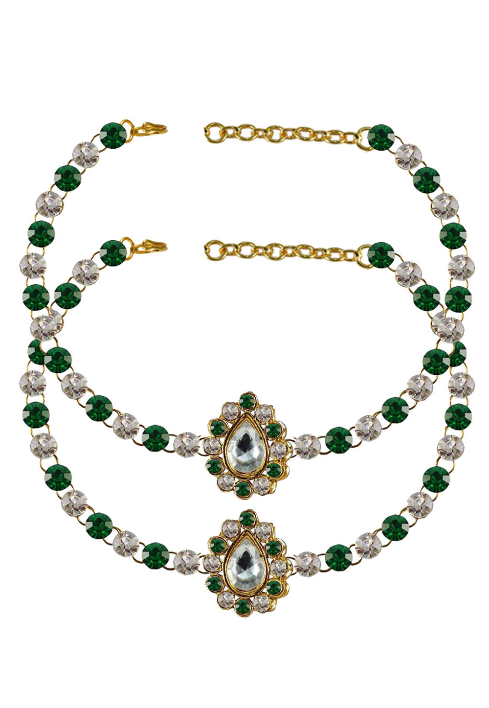 Green Brass Gold Plated Anklets 171349