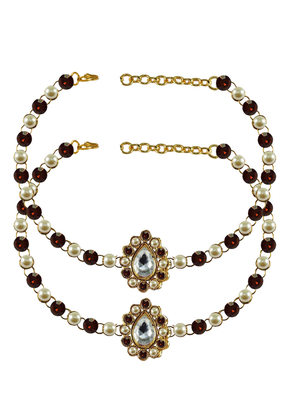 Maroon Brass Gold Plated Anklets 171350