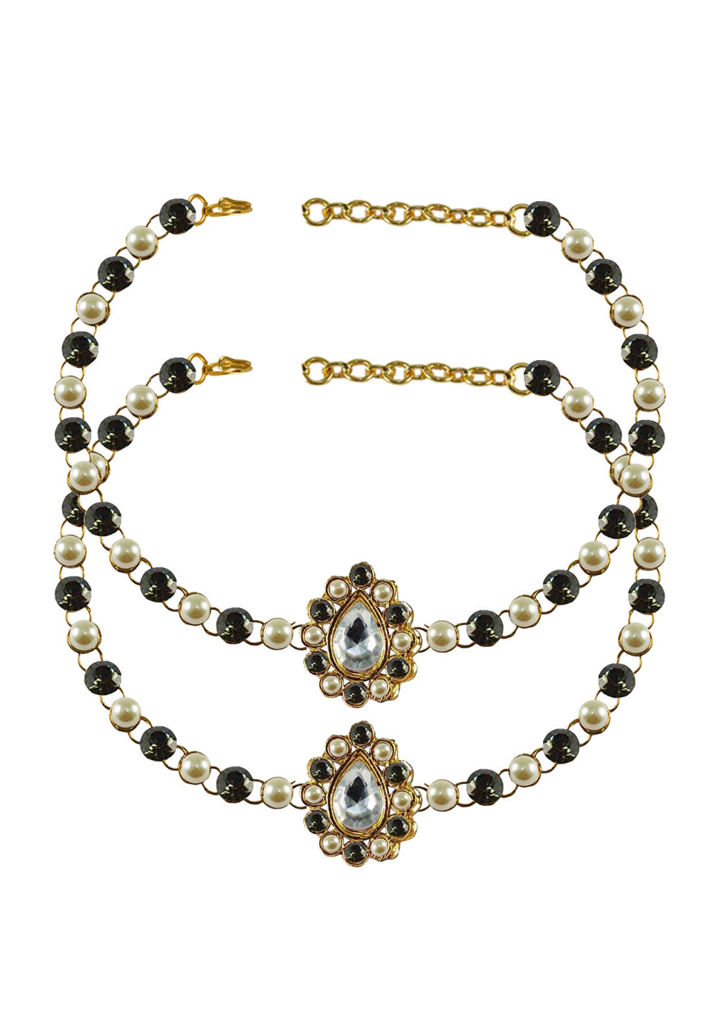 Black Brass Gold Plated Anklets 171354