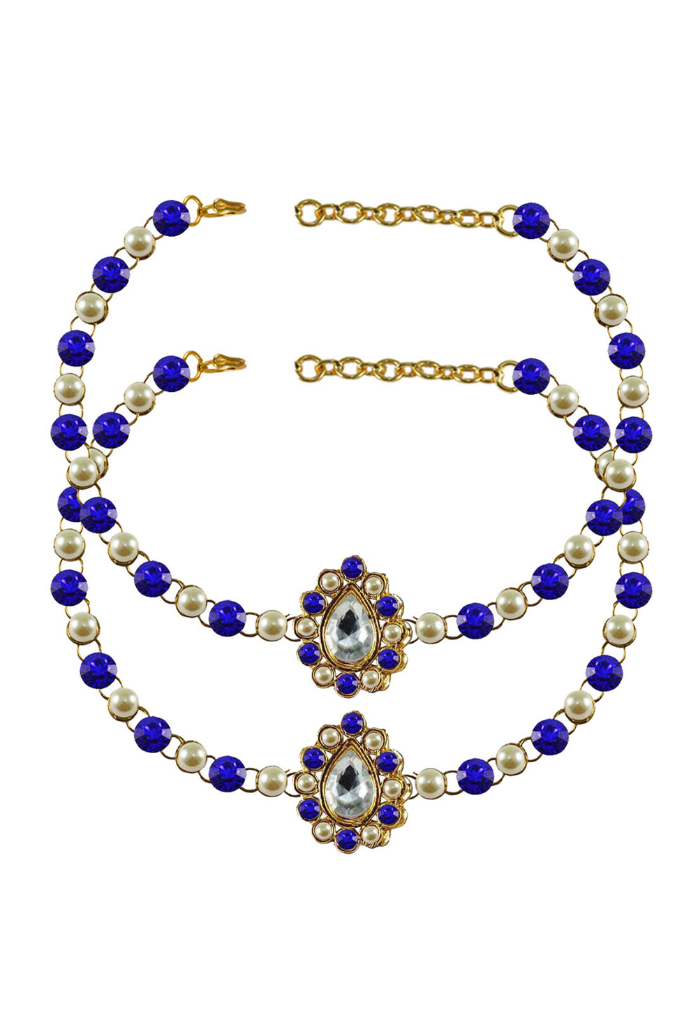 Blue Brass Gold Plated Anklets 171356