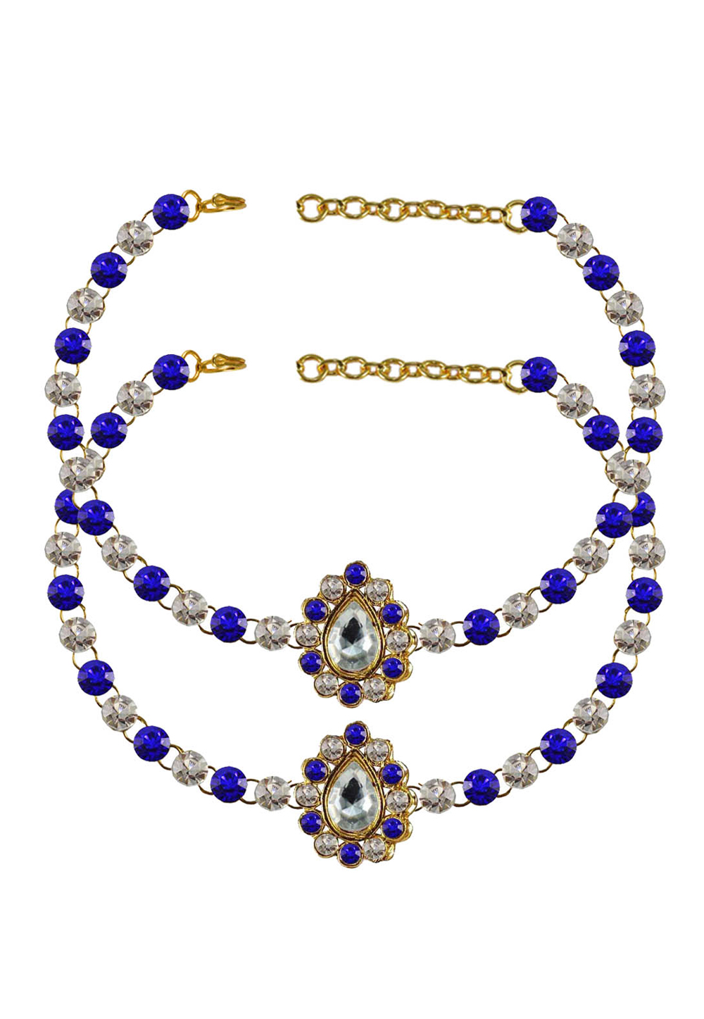 Blue Brass Gold Plated Anklets 171357