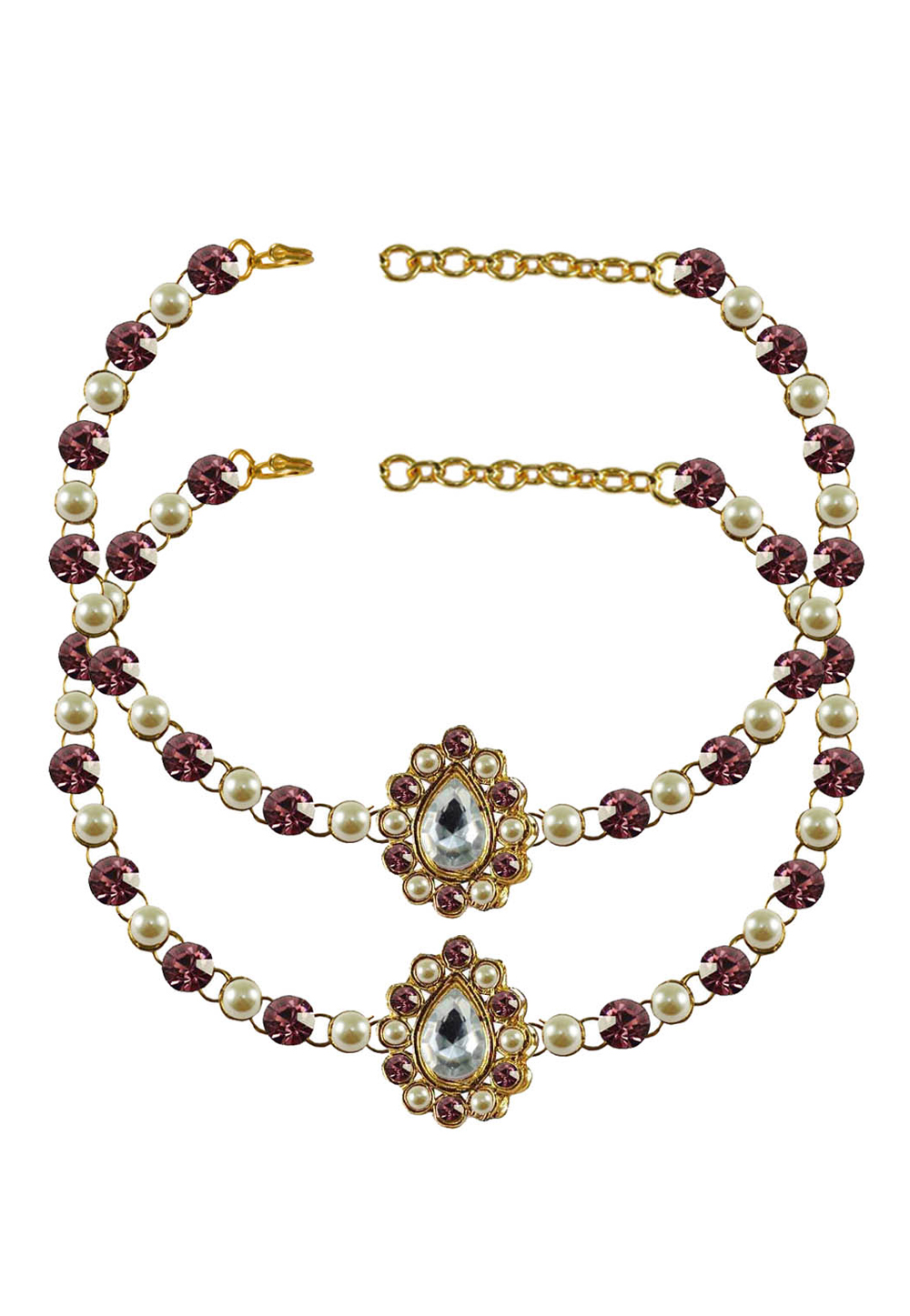 Pink Brass Gold Plated Anklets 171358