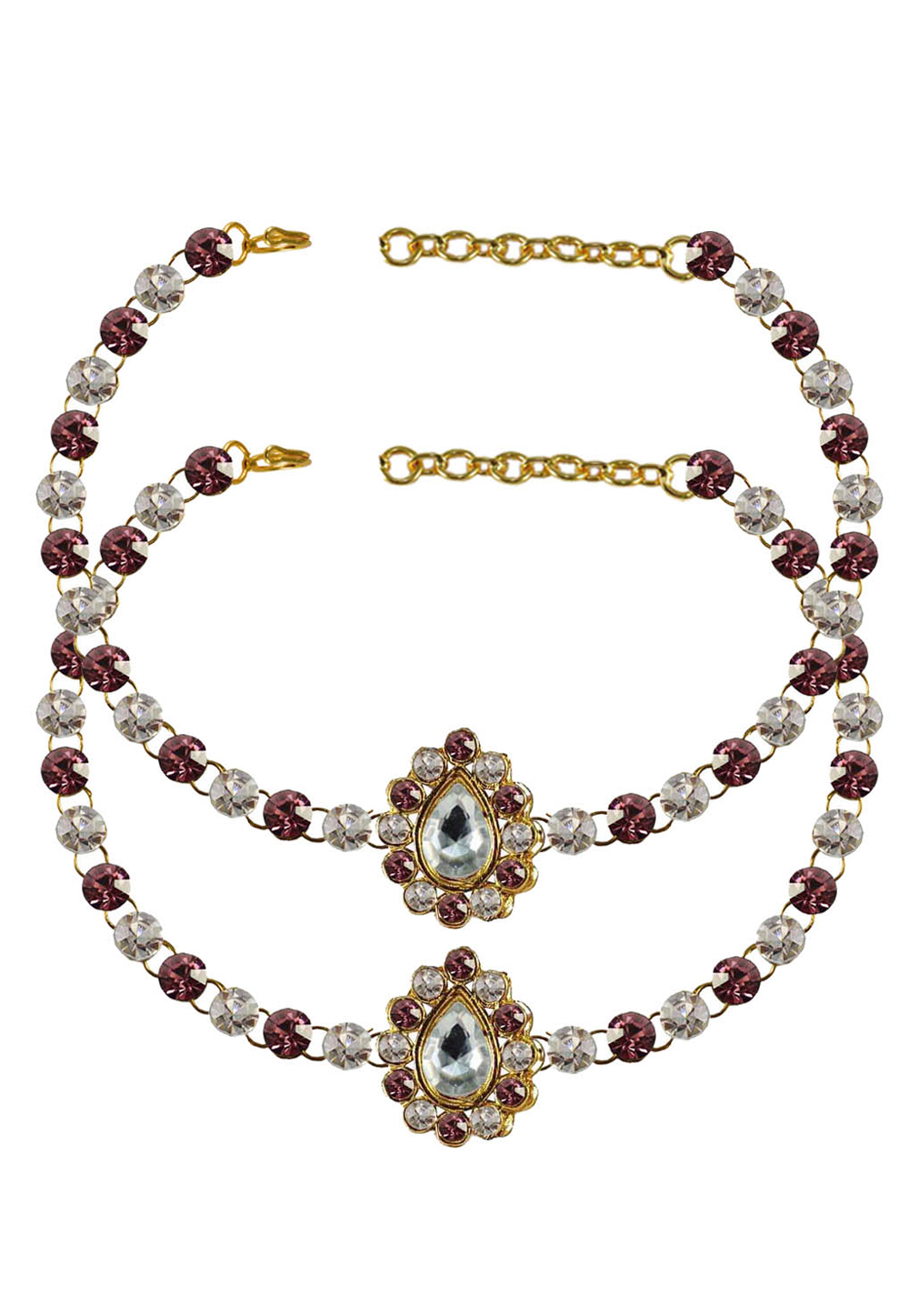 Pink Brass Gold Plated Anklets 171359