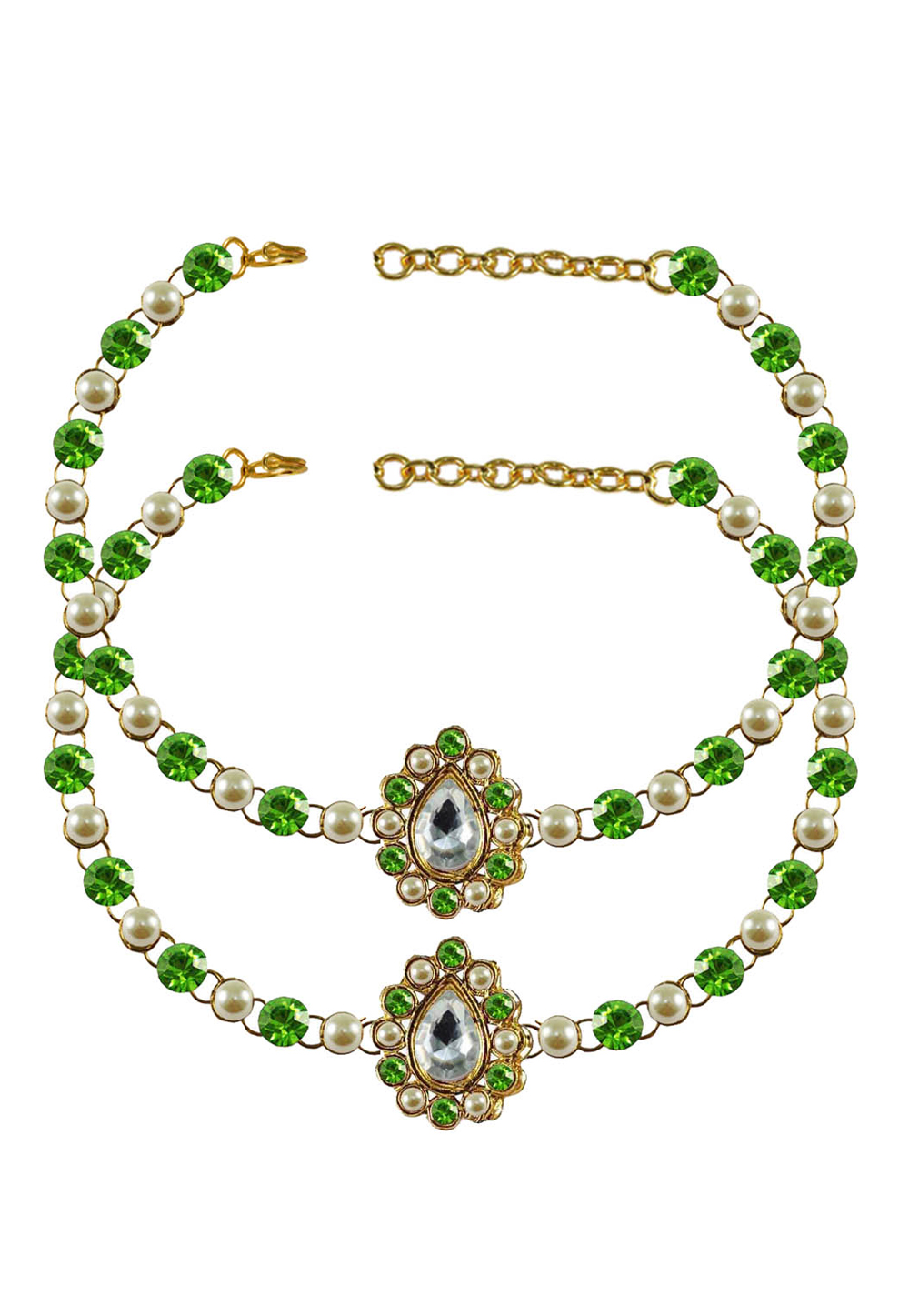 Green Brass Gold Plated Anklets 171360
